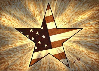 Independence Day Stary American Flag Art Print by Georgeta  Blanaru