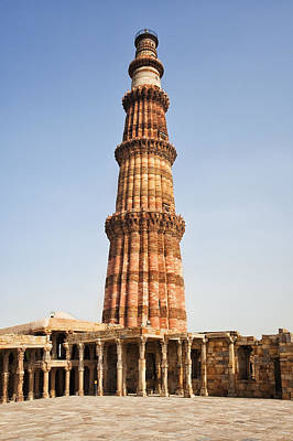 Y120907 Photograph - India, Delhi, Qutub Minar, Low Angle View Of Minaret by Bryan Mullennix