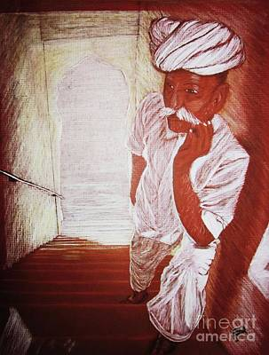 Drawing - India White Cloth The Seasoning Of Peace by Patsy Gunn