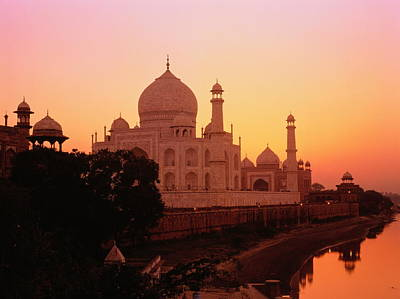 India,agra,taj Mahal And River Yamuna,sunset Art Print by David Sutherland
