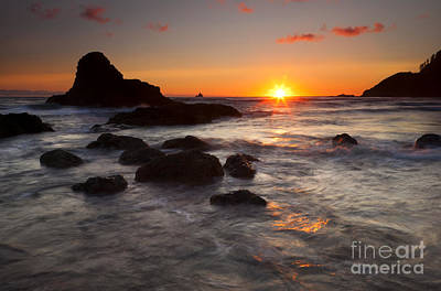Tillamook Rock Lighthouse Photograph - Indian Beach Sundown by Mike  Dawson