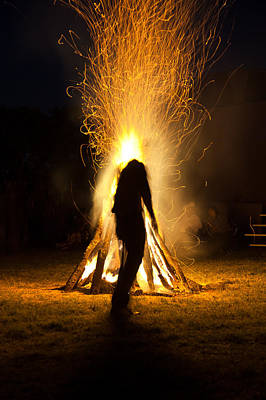 Indian Ceremonial Bonfire Art Print by Ralph Brannan