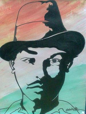 Freedom Fighter Drawing - Indian Freedom Fighter Saheed Bhagat Singh by Akhliesh Gupta