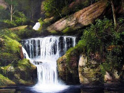 Painting - Indian Ladder Falls by Milan Melicharek
