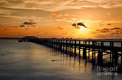 Photograph - Indian River Pier Sunset by Cheryl Davis