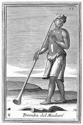 Indian Trumpet, 1723 Art Print by Granger