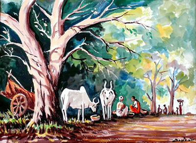 Indian Village Art Print by Benjamin Manohar