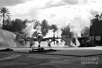 Photograph - Indiana Jones Epic Stunt Spectacular At Hollywood Studios Walt Disney World Prints Black And White by Shawn O'Brien