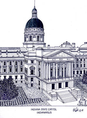 Drawing - Indiana State Capitol by Frederic Kohli