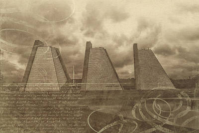 Mixed Media - Indianapolis Pyramids Textured 2 by David Haskett II