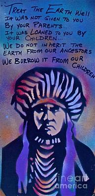 Dr. Martin Luther King Jr Painting - Indigenous Motto...blue by Tony B Conscious