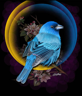 Indigo Bunting Original by Satish Verma