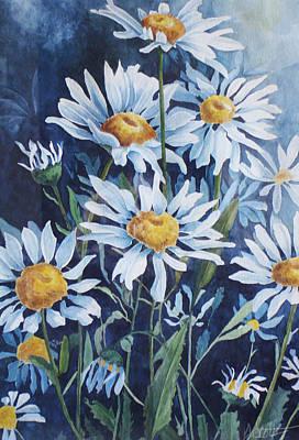 Indigo Daisies Art Print by Yvonne Scott