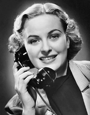 Indoor Portrait Of Woman On Telephone Art Print by George Marks