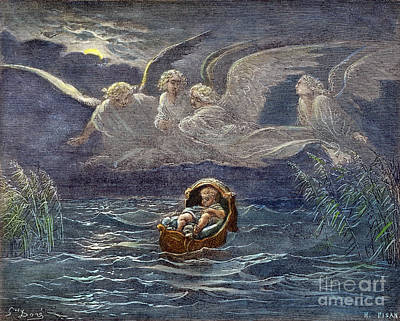Drawing - Infant Moses On Nile by Gustave Dore