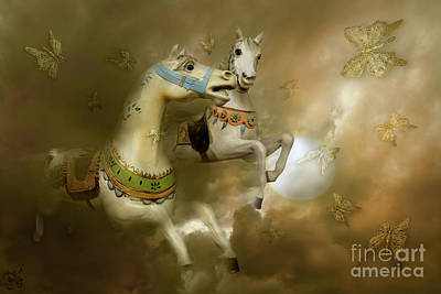 Art Print featuring the digital art Infinity Horses And  Butterflies by Rosa Cobos