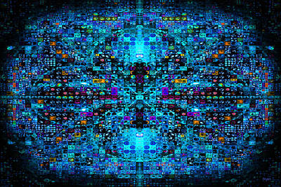 Digital Art - Infinity Mosaic Cool by Paula Ayers