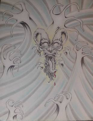 Ink And Pastel Oriental Style Dragon And Waves Art Print by Andrew Longhi