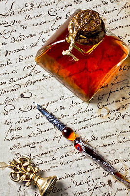 Wax Art Photograph - Ink Bottle And Pen  by Garry Gay