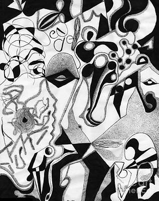 Abstract Shapes Drawing - Ink Drawing 2 by Christine Perry