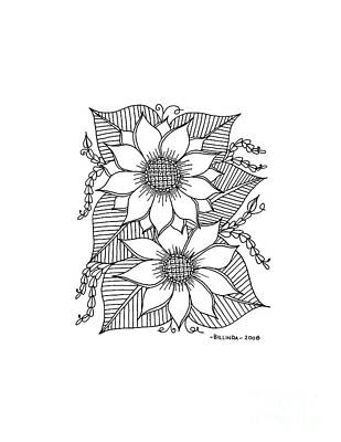 Drawing - Ink Sunflower by Billinda Brandli DeVillez