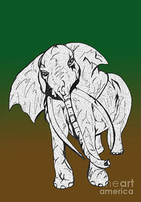 Animals Drawings - Inked Elephant in Green and Brown by Mary Mikawoz