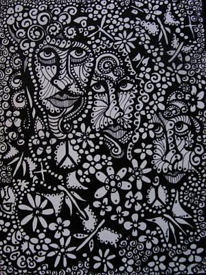 Mod Drawing - Inquisitive Faces by Gerri Rowan