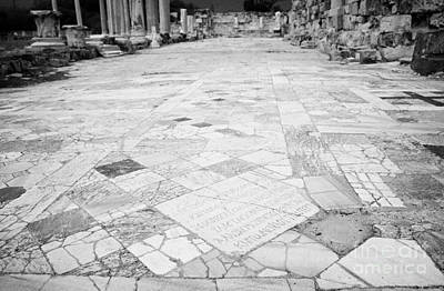 Inscription In The Floor Tile Of The Gymnasium Stoa Ancient Site Of Salamis Famagusta  Art Print by Joe Fox