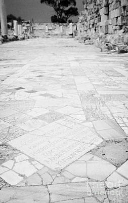 Inscription In The Floor Tile Of The Gymnasium Stoa Ancient Site Salamis Famagusta Art Print by Joe Fox