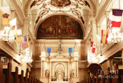 Inside St Louis Cathedral Jackson Square French Quarter New Orleans Diffuse Glow Digital Art Art Print by Shawn O'Brien