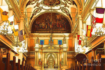 Inside St Louis Cathedral Jackson Square French Quarter New Orleans Digital Art Art Print