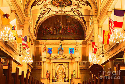 Inside St Louis Cathedral Jackson Square French Quarter New Orleans Film Grain Digital Art Art Print by Shawn O'Brien