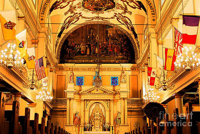 Inside St Louis Cathedral Jackson Square French Quarter New Orleans Ink Outlines Digital Art Art Print by Shawn O'Brien