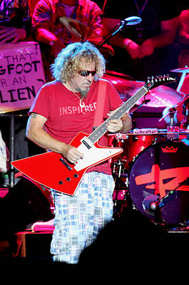 Van Halen Photograph - Inspi Red Guitar by Dennis Jones