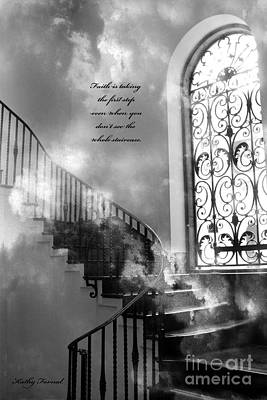 Inspirational Black White Surreal Art Print Art Print by Kathy Fornal