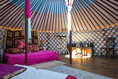 Yurts Photograph - Interior Of A Mongolian Yurt Luxurious by Corepics