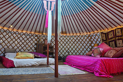 Yurts Photograph - Interior Of A Mongolian Yurt Used by Corepics