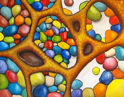 Physiology Painting - Internal Gathering by Nancy Mueller