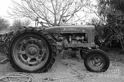 International Harvester Mccormick Farmall Farm Tractor . 7d10320 . Black And White Print by Wingsdomain Art and Photography