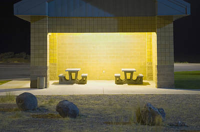 Interstate Rest Area At Night. A Small Art Print by Alan Majchrowicz