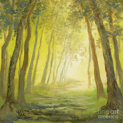 Gold Nugget Painting - Into The Woods Mysterious On Gold Leaf by Vic  Mastis