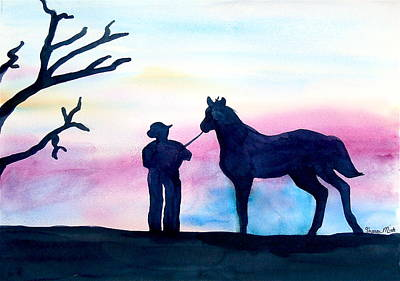 Pink Black Tree Rainbow Painting - Introduction To Night Ride by Sharon Mick