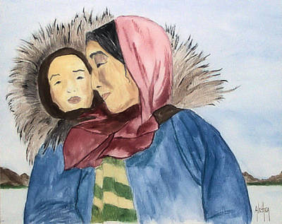 Painting - Inupiaq Eskimo Mother And Child by Alethea McKee