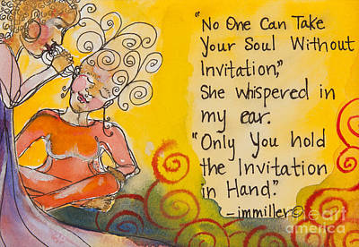 Red Swirls Painting - Invitation In Hand by Ilisa Millermoon