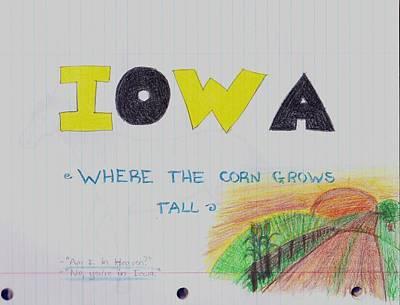 Hawkeye Drawing - Iowa by Mikala Coltrane