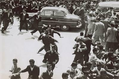 Iranian Police Assaulting School Art Print by Everett