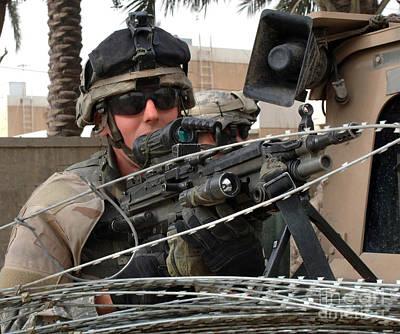 Iraqi And U.s. Soldiers Patrol The Al Art Print by Stocktrek Images