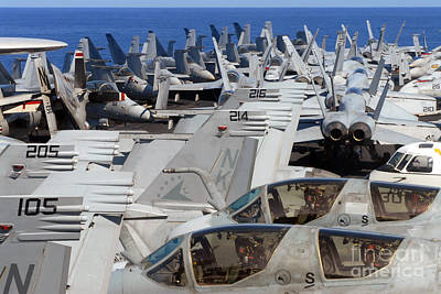 Ircraft Are Stacked On The Bow Of Uss Print by Stocktrek Images