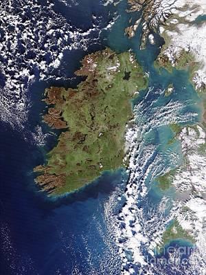 True Color Photograph - Ireland, True-color Terra Modis by NASA / Science Source