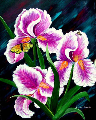 Painting - Iris And Insects by Fram Cama